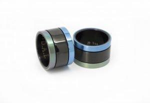 Anelli in titanio, trattamento PVD nero , azzurro e verde titanio anodizzato