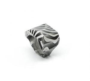 Stone-anello in acciaio damasco-stampa 3D